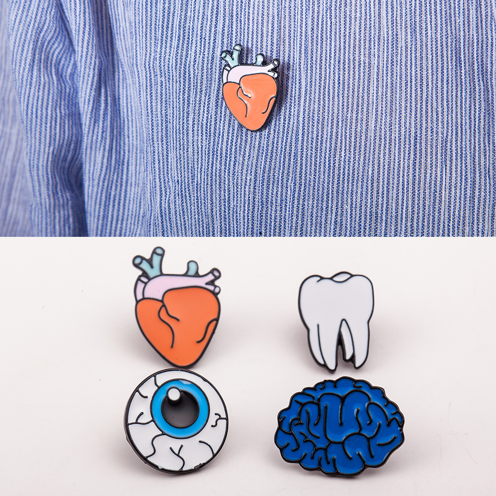 SPINNER 1PC Alloy Enamel Eye Teeth Brain Heart Brooches Pins Human Body Organs For Womens Jewelry Needle Brooch Lapel Pin Collar
