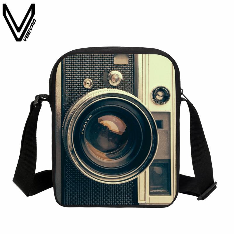 VEEVANV 2019 빈티지 3D 카메라 메신저 가방 캐주얼 옥스포드 남성 여행 가방 여성용 숄더백 캐주얼 크로스 바디 백 새로운 선물