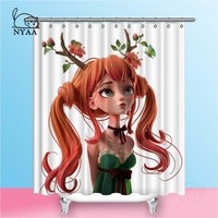 Nyaa 3D Cartoon Character Red Haired Girl Shower Curtains Green Dress Waterproof Polyester Fabric Bathroom Curtains For Home De