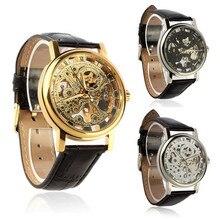 Relógio de quartzo De Moda de Luxo Mens Esqueleto Mecânico Analógico Relógio Vento Mão Pulseira de Couro Relógio de Pulso por atacado
