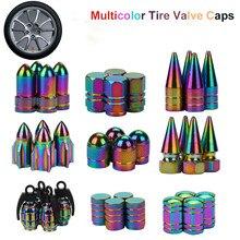 4 шт. неоновые огни, цветные алюминиевые колпачки для автомобильных шин, пулевые гранаты, дизайн автомобиля, грузовика, воздушный порт, крышка обода шины, клапан, колпачок колеса