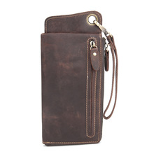 New men crazy horse leather long leather wallet leather zipper wallet high-grade wallet K3070 hand bag tauren first layer cow genuine leather wallet men bifold zipper crazy horse leather clutches retro long brand hand bag