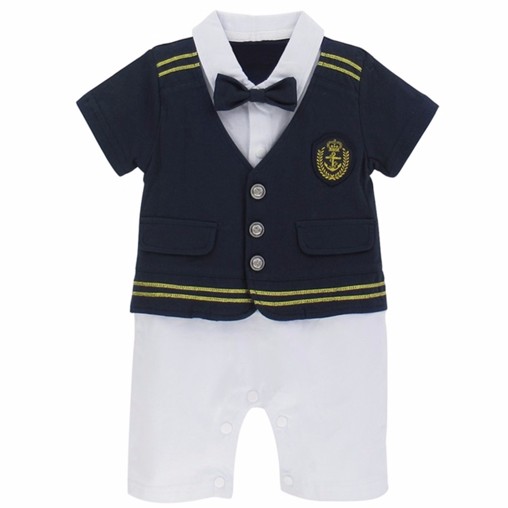 Baby Boy Clothes Sailor Navy Captain Costume Romper Halloween Cosplay Playsuit Outfit Infant Short Sleeve Jumpsuit baby boy clothes kids bodysuit infant coverall newborn romper short sleeve polo shirt cotton children costume outfit suit