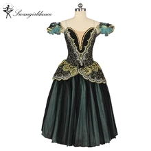 La Esmeralda Competiton Women Black Green Romance Professional Ballet Tutu Dress Adult Ballerina Performance Ballet Skirt BT9168