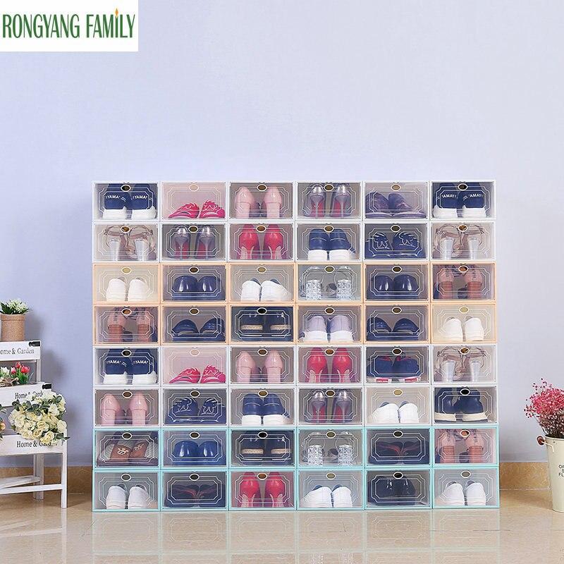 2019NEW 4PCS Shoe Organizer Drawer Transparent Plastic Shoe Storage Box Rectangle PP Thickened Shoes Organizer Drawer Shoe Boxes Обувь