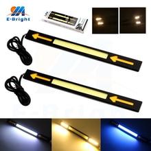 2sets(4pcs) Dual Colors 12V 17cm COB DRL Arrow Auto Day Light White/Blue/Ice Blue Turn Amber For All Cars 340LM/pcs 8000K