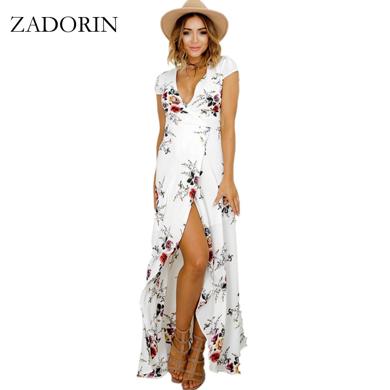 ZADORIN 2018 Hotsale largo verano playa vestido mujeres Sexy Deep V Floral gasa vestido Maxi delantero de Split Bohemian Dresses robe ete