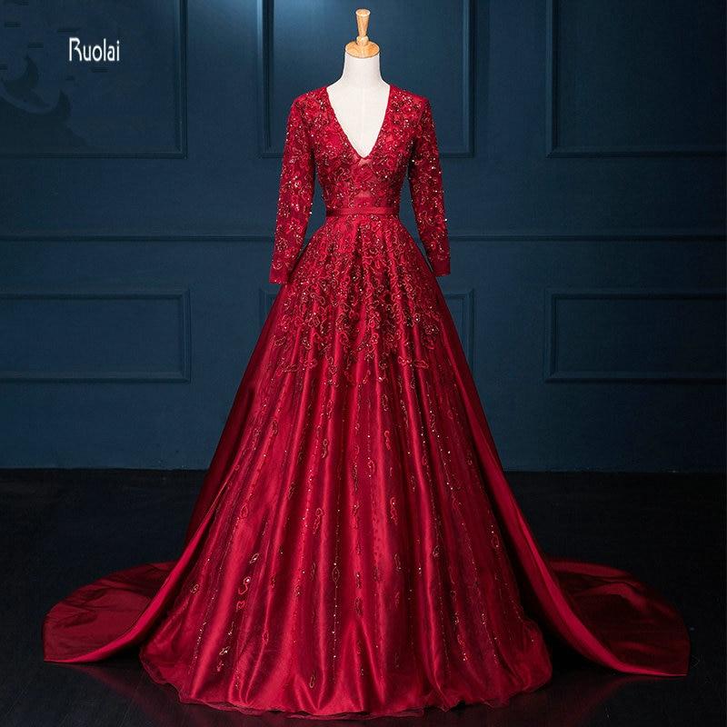 Luxury Red Arabic   Evening     Dress   Long 2018 Applique Bead V Neck Long Sleeves Dubai   Evening   Gown Formal Party   Dress   robe de soiree