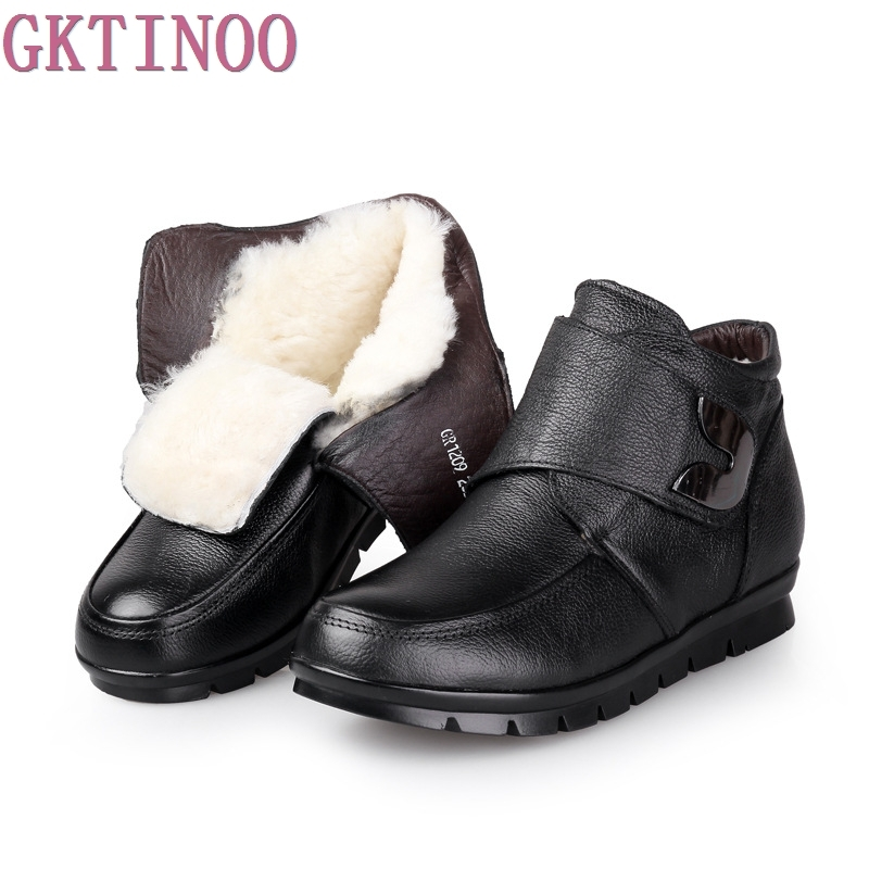 Women Winter Boots Fashion Genuine Leather Ankle Boots Women Round toe Flat Shoes Warm Wool Woman Snow Boots Plus Size(35-41) cocoafoal women s wool snow boots woman ankle boots silvery winter snow boots flat with platform wool snow boots genuine leather