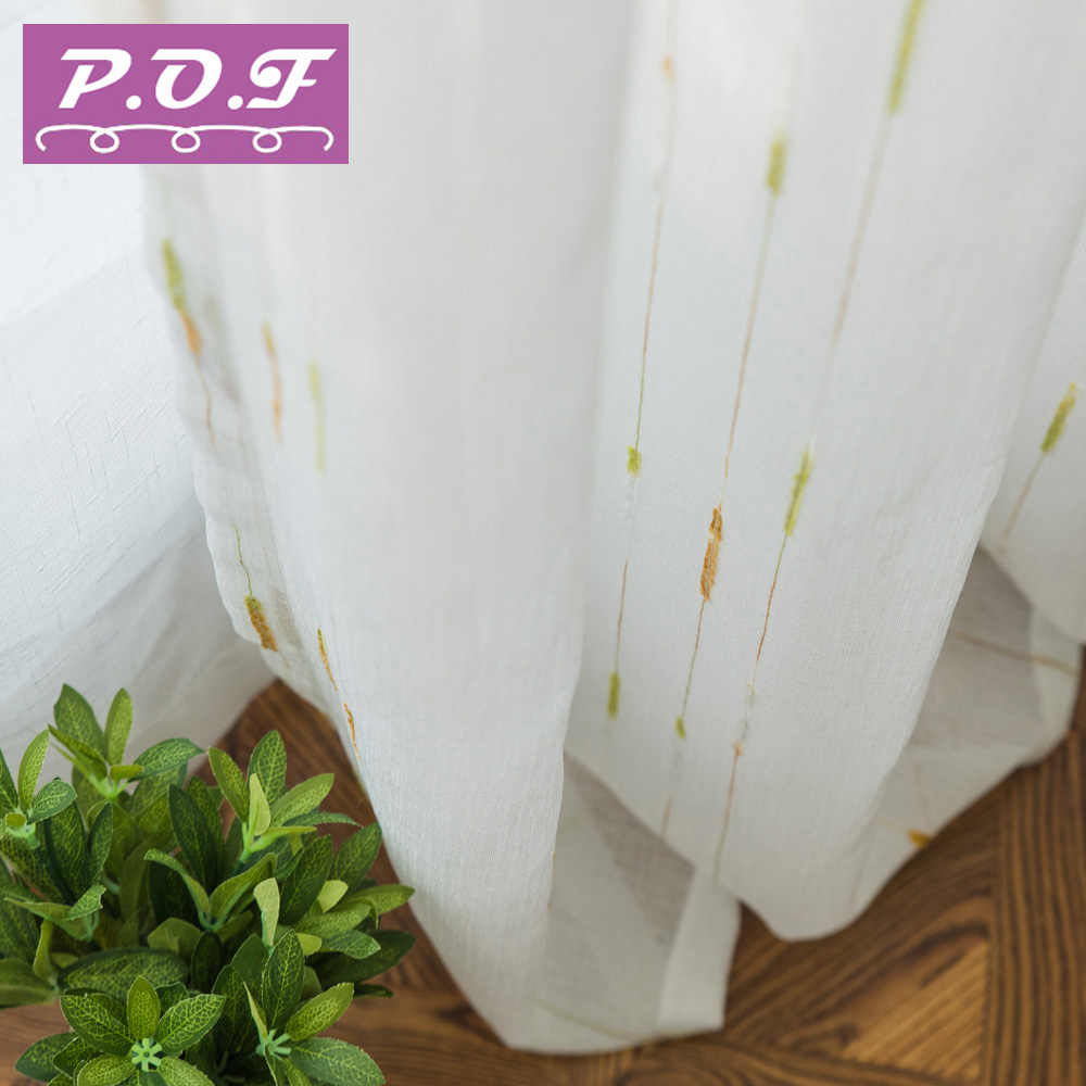 P.O.F curtains for living room Tulle for living room Sheer White curtains new style free shipping accept customization