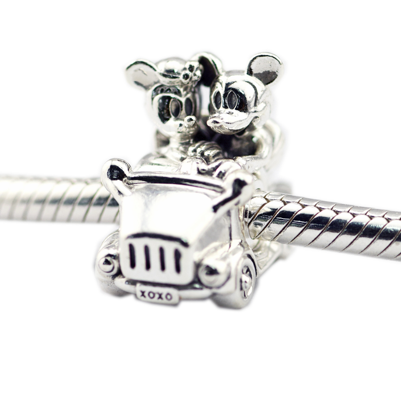 Fits for Pandora Charms Bracelets Mouse Vintage Car Beads 100% 925 Sterling Silver Jewelry Free Shipping