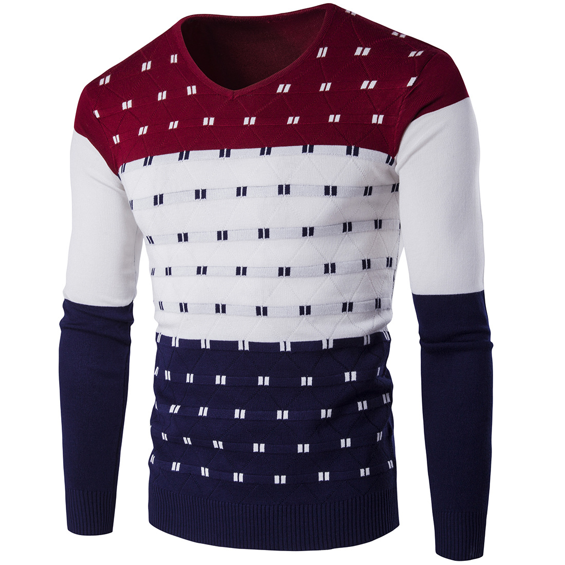 2018 Mens Pullover Sweater Slim Comfortably Knitted Long Sleeve Assorted Color