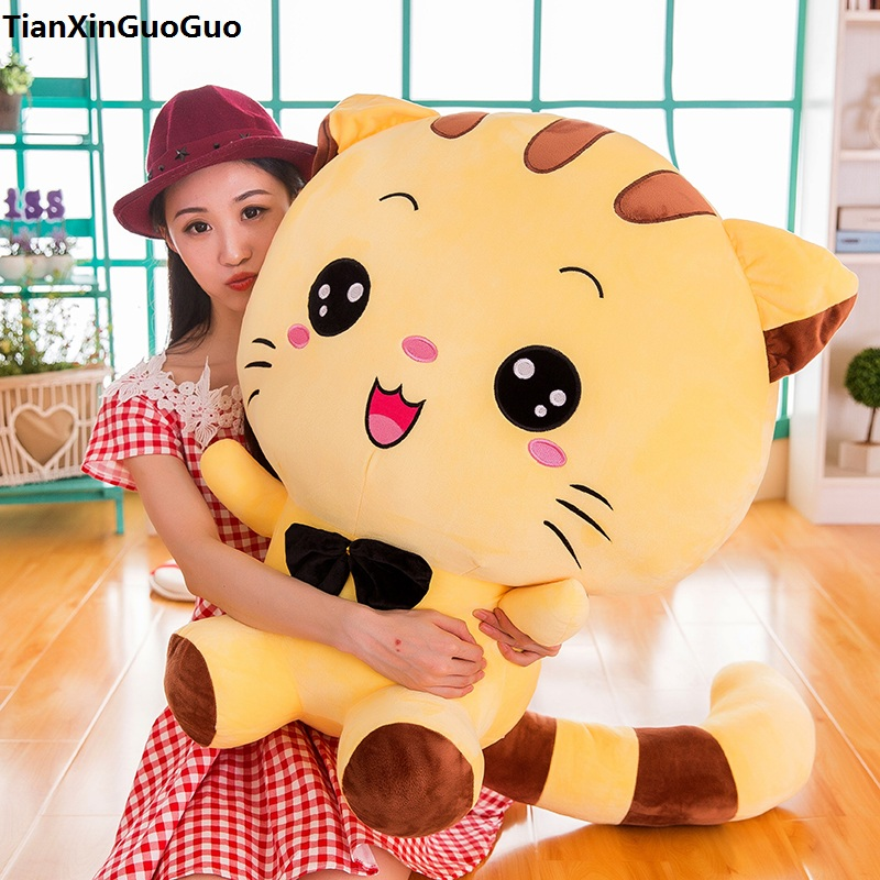 stuffed fillings toy large 80cm cartoon yellow cat plush toy cute kitty soft hugging pillow birthday gift s0649 cartoon cute doll cat plush stuffed cat toys 19cm birthday gift cat high 7 5 inches children toys plush dolls gift for girl