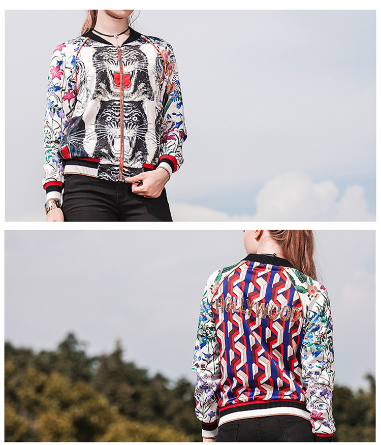 Bombardero chaqueta de estilo europeo calle flor de tigre de ...