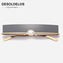 DesolDelos One-piece sunglasses women rimless red blue rectangular sun glasses for men vintage retro uv400 metal gafas de sol