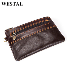 WESTAL Wallet Coin Purse Genuine Leather Change Coin Purses Mini Purse Small Wallets Solid Zipper Fashion Coin Purse 8118