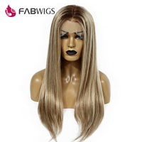 Fabwigs 180% Density Lemi Color Lace Front Human Hair Wigs Balayage Ombre Front Lace Wig T4/27/613 Highlight Brazilian Remy Hair
