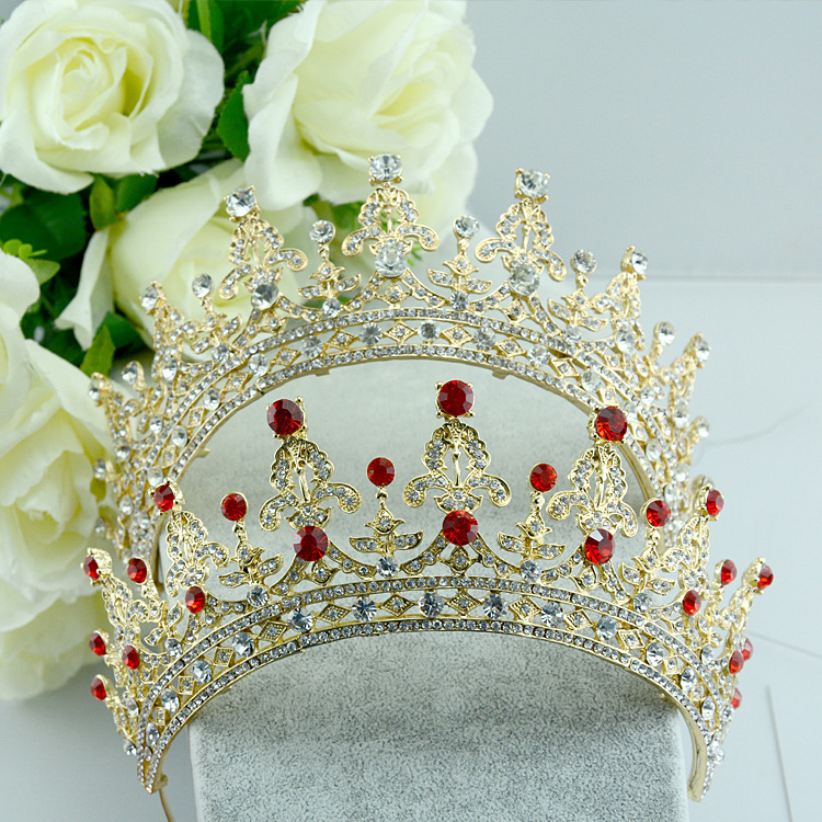 Rhinestone Bridal Tiara, Wedding Tiara, Crystal Bridal headpiece, Dramatic headpiece, Gold Tiara red and clear
