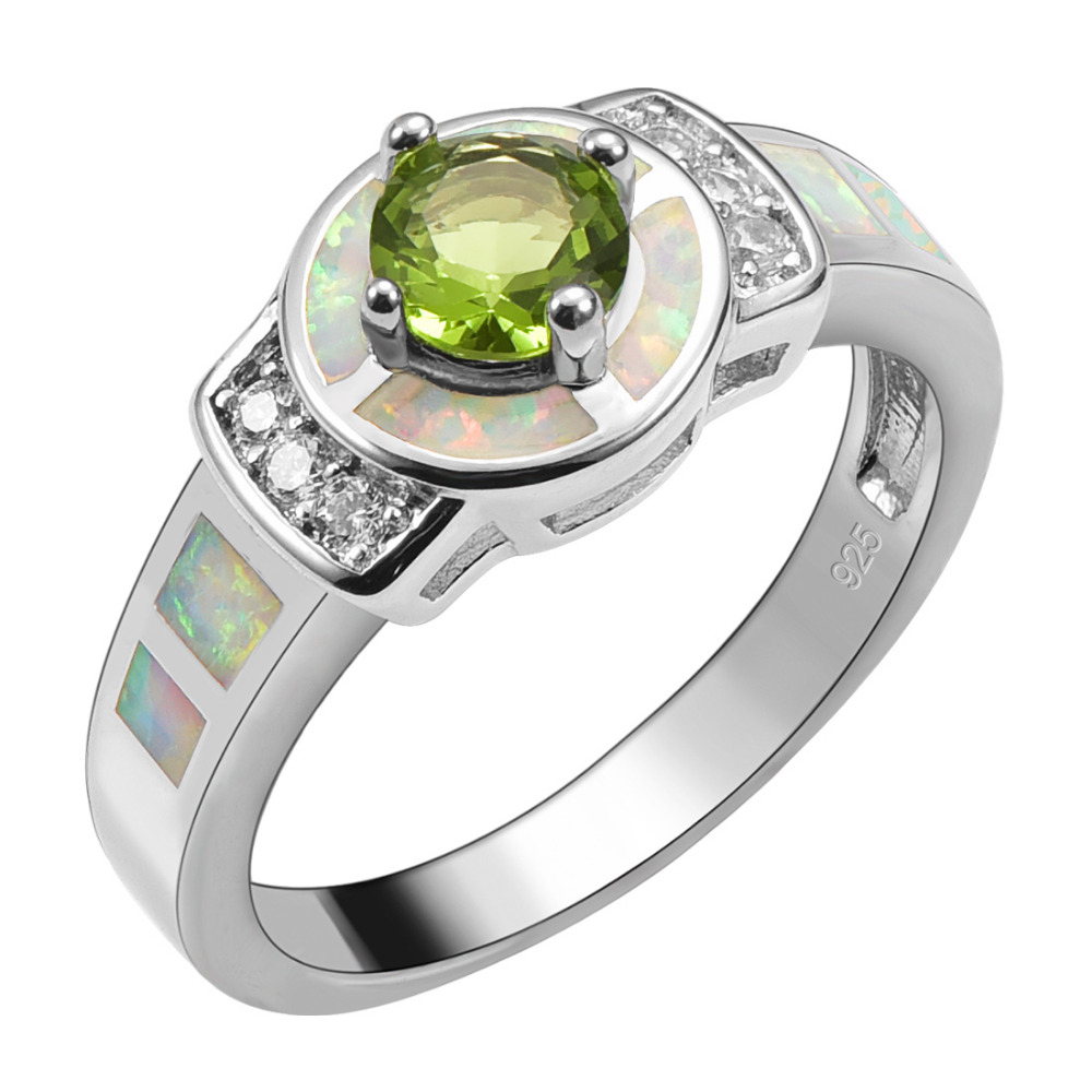 Peridot With White Fire Opal 925 Sterling Silver Ring Beautiful Jewelry For Woman Size 6 7 8 9 10 R1518