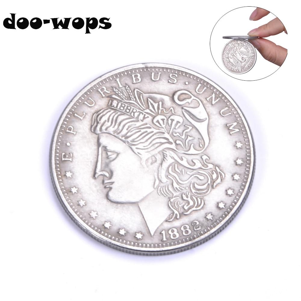 1pc Magnetic Copper Morgan Dollar Coins Magic Tricks Appear/Vanish Magia Magicians Accessories Close Up Street Illusions Props