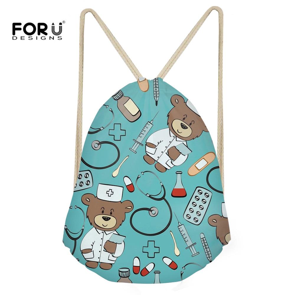 FORUDESIGNS Drawstring Backpack Cute Cartoon Nurse Bear Print Drawstring Bag For Teenager Girls Kids School Rucksack Travel Sack