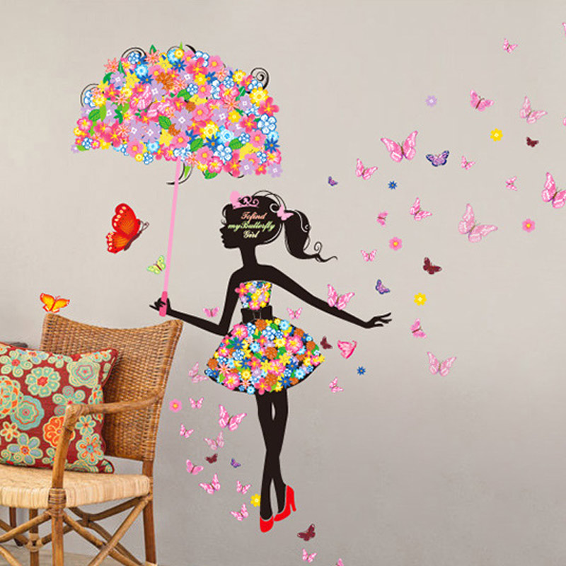 Children Wall Stickers Flowers Fairies Baby Bedroom Wall ...