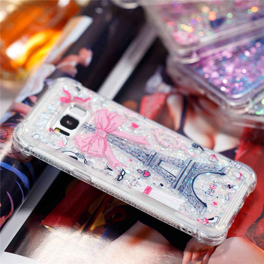 IQD Kapak Samsung Galaxy Not 8 Için S9 S8 Artı S7 S6 Kenar S5 Kılıf Fusion Köpüklü Quicksand Glitter Darbeye Dayanıklı tampon Kızlar yeni