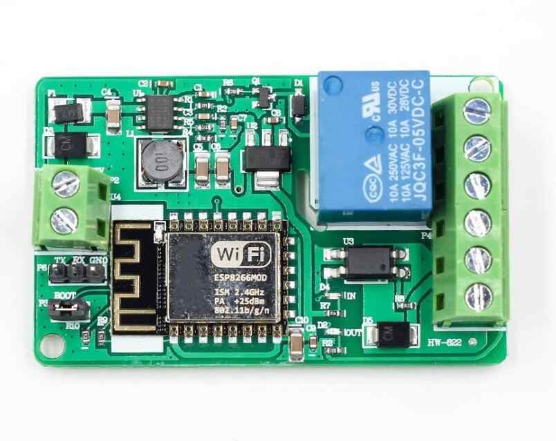 ESP8266 10A Módulo de Relé 220 V Módulo de Relé De Rede WI-FI de Entrada DC 7 V ~ 30 V 4 Camadas da Placa TVS Proteção Automática de Entrada Conector