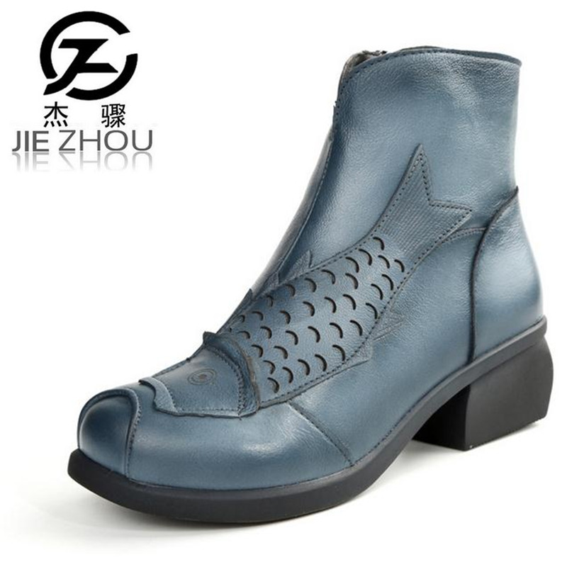 2017 autumn and winter new retro Female short boots Genuine Leather Large size Middle heel women boots damski boty botas obuv autumn and winter new ladies genuine