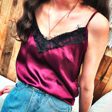 Satin Women's Shirt Mike Strap Elegant Crop Top Sexy V neck Camis Women Short Sleepwear Female Lace Top Summer Party Blusa