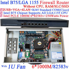 B75 6 ports Gigabit lan 1U network server barebone system without CPU PCI-E 1000M 6*82583v support ROS Mikrotik PFSense Wayos