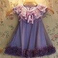 Новый 2016 девочка принцесса кружевном платье малыша девушки свадьба ну вечеринку тюль платья 2-7y девушки летних цветов жилет платье