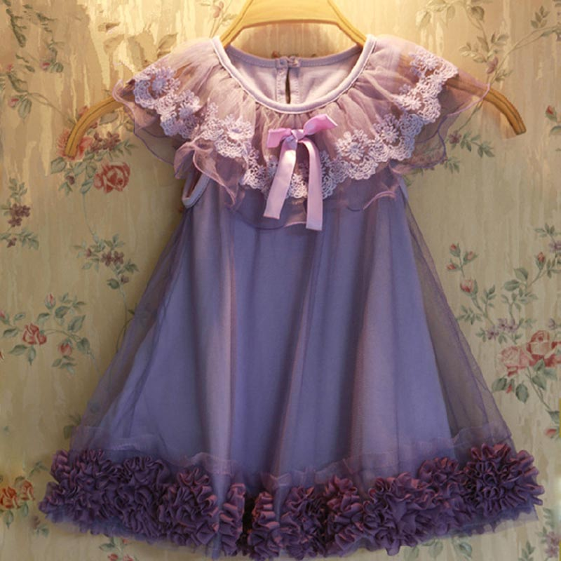 2016 Baby Girl Princess lace Dress Toddler girls Wedding Party Tulle Dresses 2-7y summer Flower vest dress