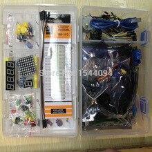 Kit pour arduino uno avec mega 2560/lcd1602/hc-sr04/dupont ligne en boîte en plastique