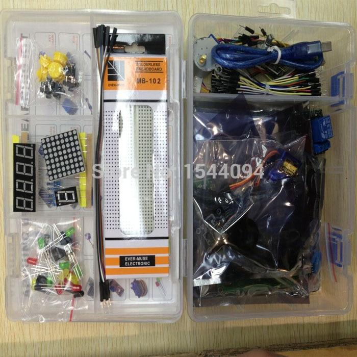Kit pour arduino uno mega 2560/lcd1602/hc-sr04/dupont ligne dans une boîte en plastique