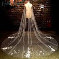 Delicate Pearls Handmade Flowers Appliques Cut Edge Long Wedding Veil 2016 velos de novia