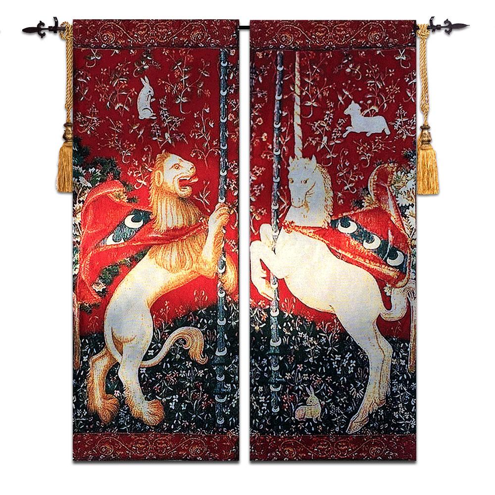 الأسد و يونيكورن زوج بلجيكا ديكور جدار الفن جدار نسيج الجدار شنقا المغربي القماش نسيج المفروشات جدار السجاد tapiz-في قماش النجود من المنزل والحديقة على  مجموعة 1