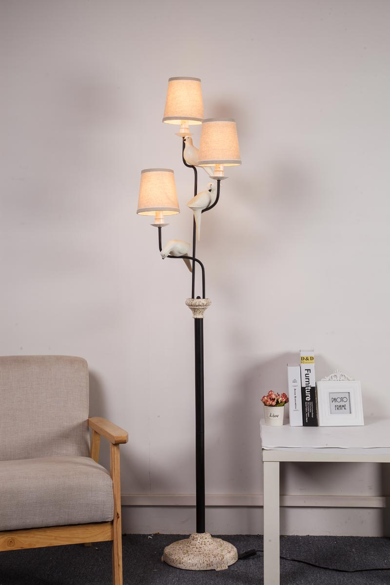 Vintage Metal Led Bulb Floor Lamps For Living Room Loft Standing Resin Bird Fabric Lampshade