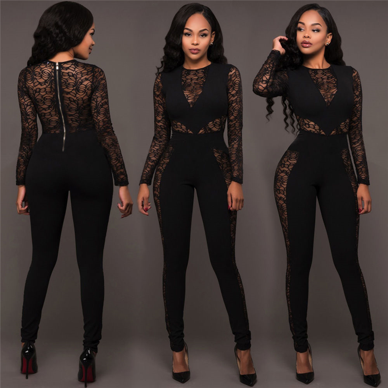 Vogue Ladies Black Lace Jumpsuits Women Long Sleeve Sexy Jumpsuits Female Fashion Stretchy Casual Jumpsuits Long Romper Clubwear
