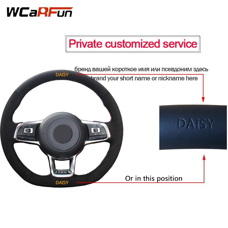 WCaRFun Black Suede Auto Car Steering Wheel Covers for Mitsubishi Lancer EX10 Lancer X Outlander ASX Colt Pajero Sport