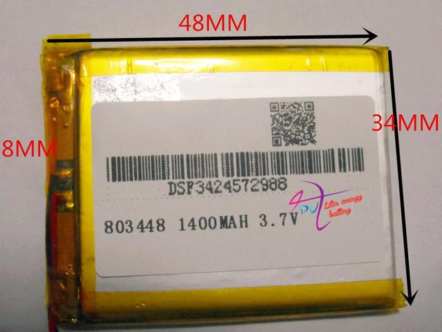 Best Battery Brand 1pcs 3 7v 1400mah 803448 Polymer Lithium Ion Li