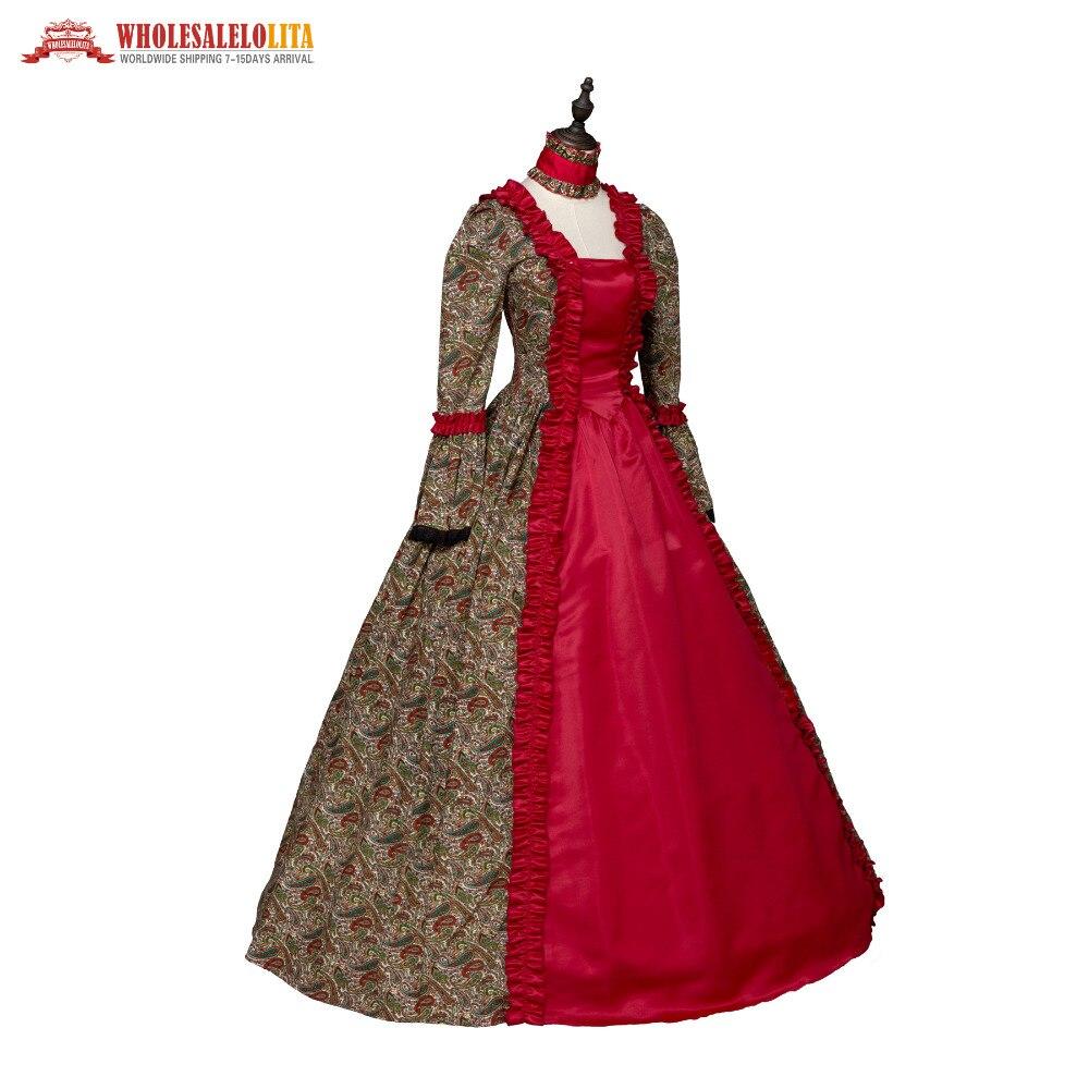 Red Print Renaissance Georgian Gothic Dress Gown Steampunk ...