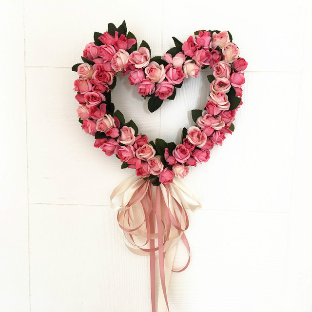 Artificial Flowers Rose Wedding Heart Shaped Door Wreaths Lovely Decoration Party Supplies