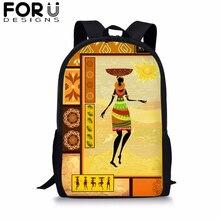 FORUDESIGNS Egypt Art School Bag Backpack for Girls Kids Rucksack African Black Girl Bookbag Student Satchel Daypack Mochila