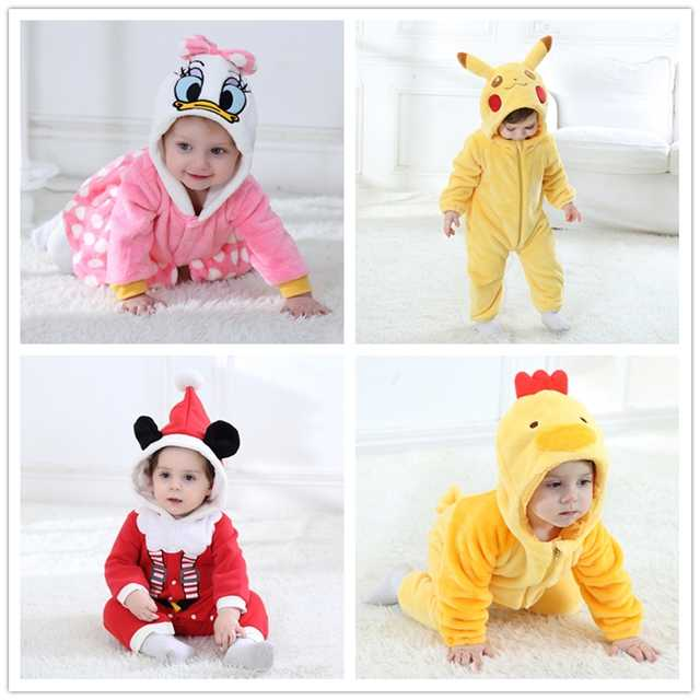 Детские Комбинезоны для малышек Животные милый кролик Пижама Новогодние товары теплая зима коралловый флис новорожденного для маленьких мальчиков девушка Pijamas de Bebe recem nascido