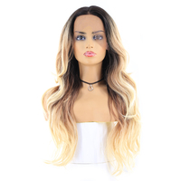 Blonde Black Ombre Color Lace Front Synthetic Hair Wigs For Women X TRESS 24inch Long Wavy Lace Frontal Wig Free Middle Parting