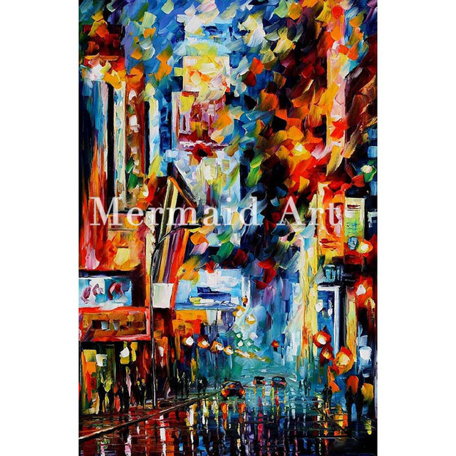 ffa5b55e53d68f hand painted Palette knife thick Art Night Broadway Modern Artwork of  Landscape canvens Oil Painting Wall Decoration Fine Art