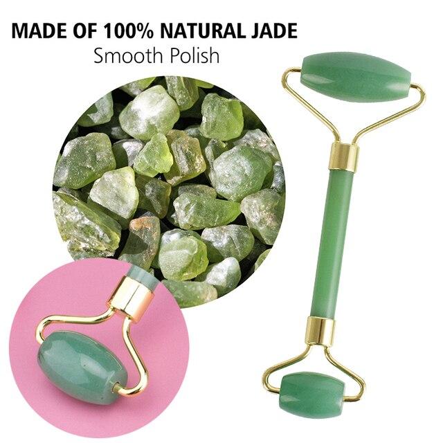 Rose Quartz Jade Rolle face massager Lifting Slim Massage Natural Stone Crystal Slimming Shaper Beauty Health Care Tools Wrinkle 3