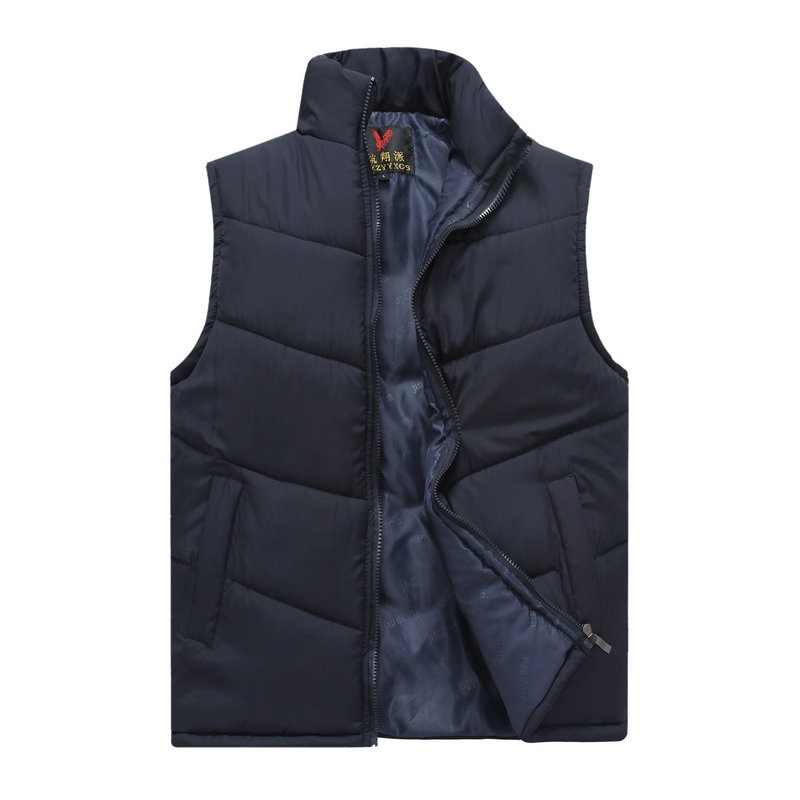 Spring Autumn Stylish Casual Mens Puffer Vest Coats Man Red Dark Blue Gray Black Warm Wadded Sleeveless Jackets Male Stand Collat Waistcoat (12)
