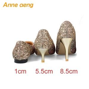 Image 3 - 2019 Yeni Yüksek topuklu ince ayakkabı kadın pompaları bling düğün gelin ayakkabıları klasik 1cm 5.5cm veya 8.5cm sivri ayak akşam parti ayakkabıları